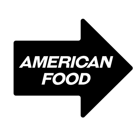american food black stamp, sticker, label, on white background