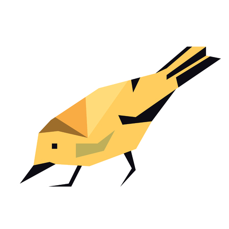 forest bird flat illustration isolated on white. Forest animals series