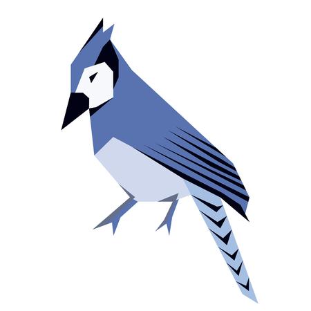 blue jay flat illustration isolated on white. Forest animals series Illustration
