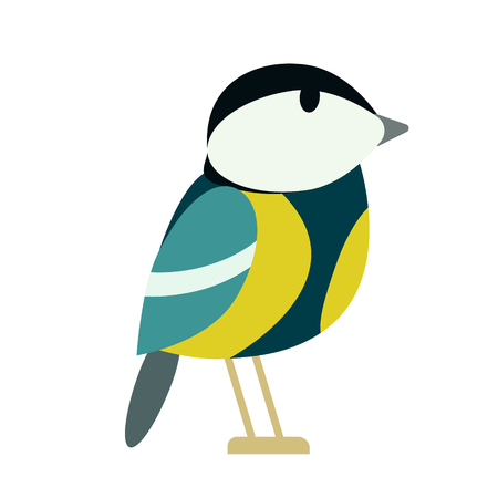 tit flat illustration isolated on white. Forest animals series