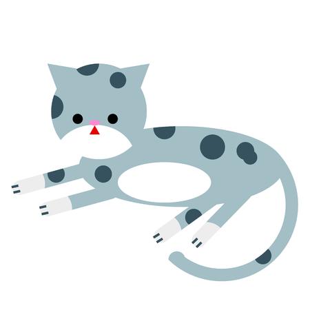 grey cat flat illustration isolated on white. City life and life style series Illustration