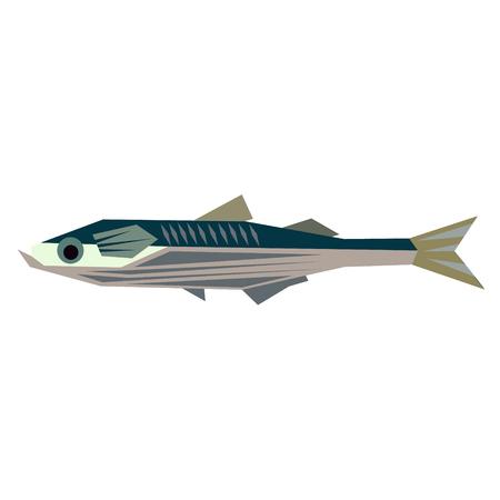sea fish flat illustration isolated on white. Marine and underwater life series Reklamní fotografie - 124402839