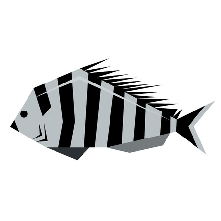 fish flat illustration isolated on white. Marine and underwater life series