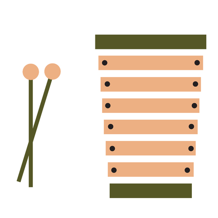 xylophone flat illustration isolated on white. Music instruments series  イラスト・ベクター素材