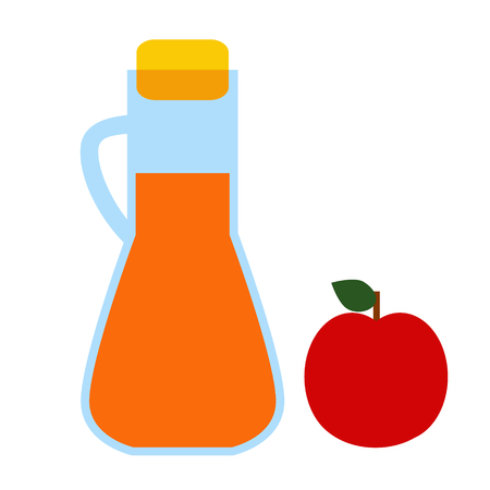 juice bottle and apple flat simple illustration. Home and kitchen series. Tableware food and dishes. Ilustração