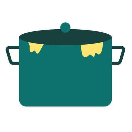 cooking pot big flat simple illustration. Home and kitchen series. Tableware food and dishes. 向量圖像