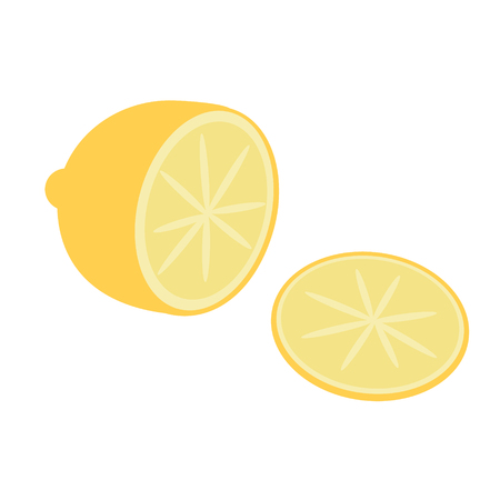 lemon flat simple illustration. Home and kitchen series. Tableware food and dishes.