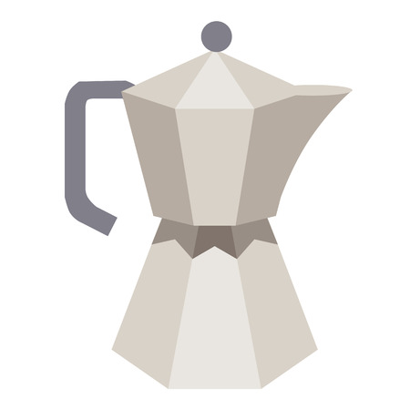 traditional coffee pot flat simple illustration. Home and kitchen series. Tableware food and dishes.