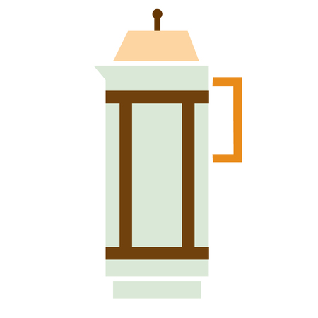 coffee french press flat simple illustration. Home and kitchen series. Tableware food and dishes. Çizim