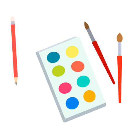 watercolors and brushes flat simple illustration. Lifestyle and personal activites series.