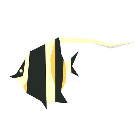 striped tropical fish yellow geometric style illustration. Underwater world exotic fish series