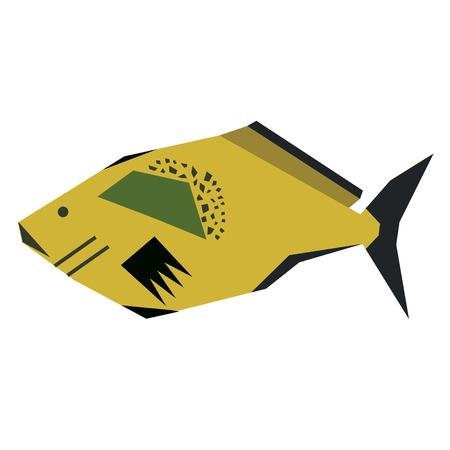 orange fish geometric style illustration. Underwater world exotic fish series