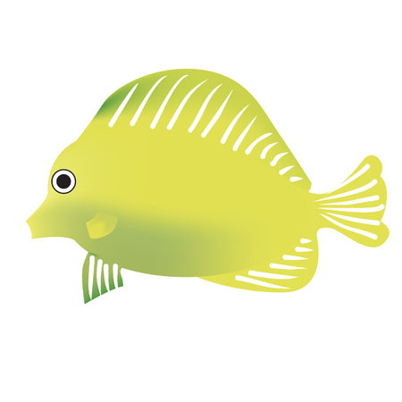 tropical fish yellow bright gradient color bright illustration. Underwater tropical exotic fish series