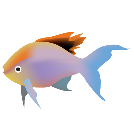 tropical fish gradient color bright illustration. Underwater tropical exotic fish series