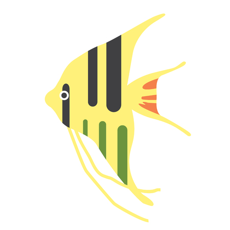 tropical fish yellow with black stripes flat illustration. Underwater world creatures series