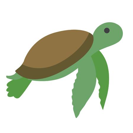 green turtle flat illustration. Underwater world creatures series Illustration