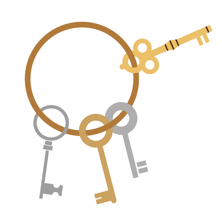 old keys flat simple illustration. Lifestyle and personal activites series.