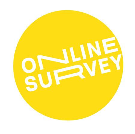 Online Survey label on white background