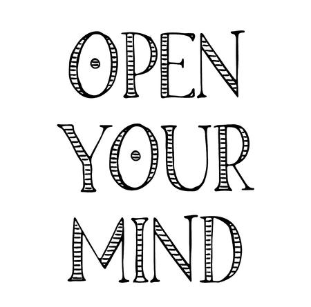open your mind label on white background Illustration