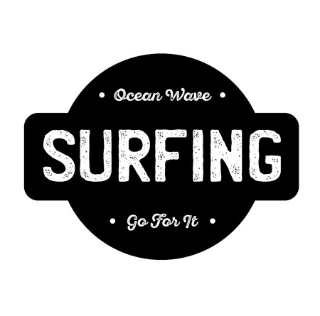 surfing label on white background