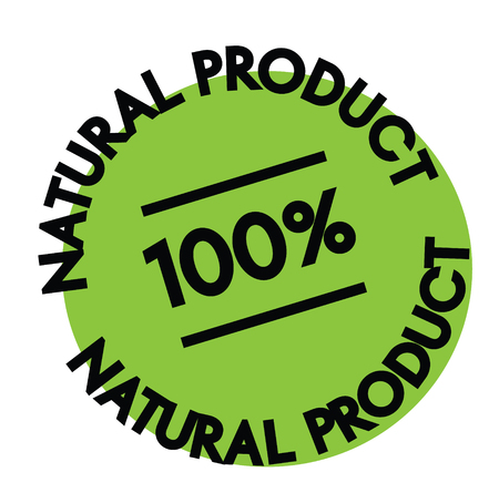100 percent Natural Product label on white background