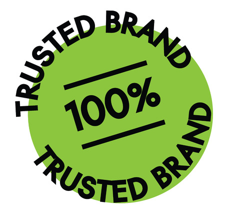 100 percent trusted brand label on white background