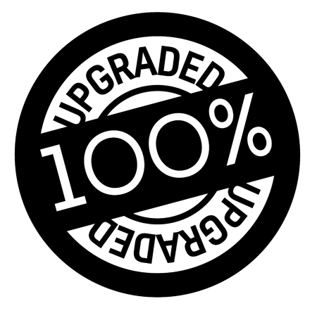 100 percent upgraded stamp on white background. Sign, label, sticker