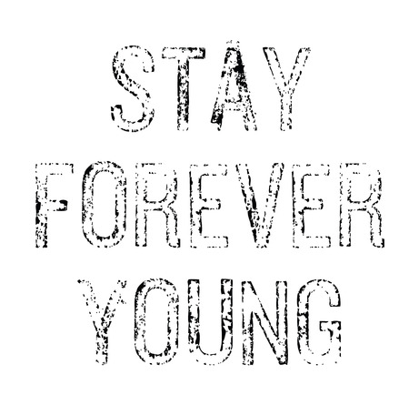stay forever young stamp on white background Çizim
