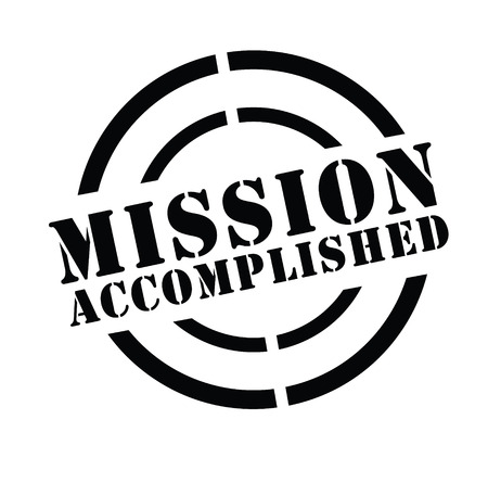 mission accomplished stamp on white background Ilustração
