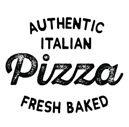 authentic italian pizza label on white background