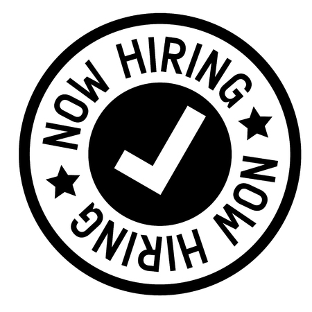 now hiring stamp on white background. Sign, label, sticker