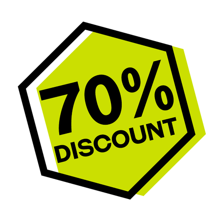 70 percent discount stamp on white background. Sign, label, sticker