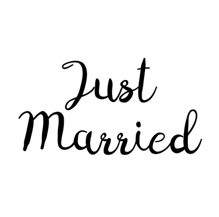 just married stamp on white