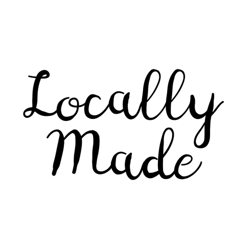 locally made stamp on white background. Sign, label, sticker