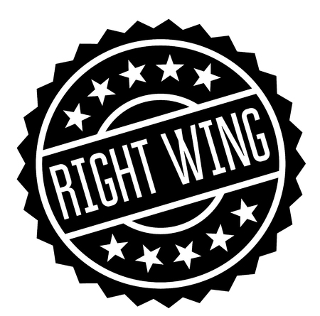 right wing stamp on white background. Sign, label, sticker