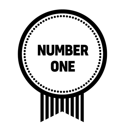 number one stamp on white background. Sign, label, sticker