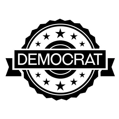 democrat stamp on white background. Sign, label sticker