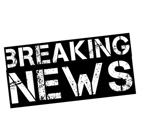 breaking news stamp on white
