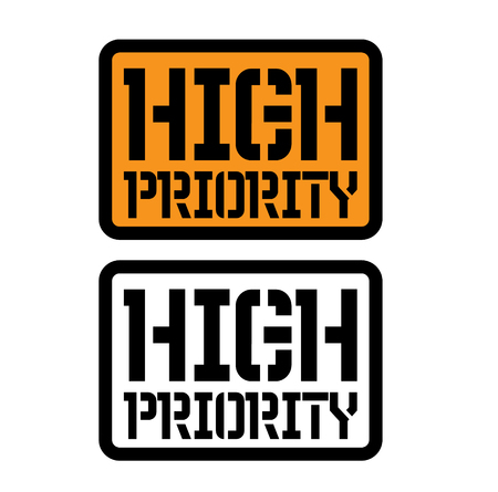 high priority stamp on white background. Sign, label, sticker Stock Illustratie