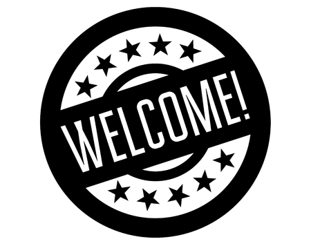 welcome stamp on white background. Sign, label sticker