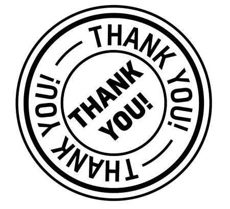thank you stamp on white background. Sign, label, sticker