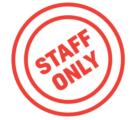 staff only stamp on white