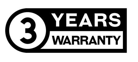3 year warranty stamp on white Illustration