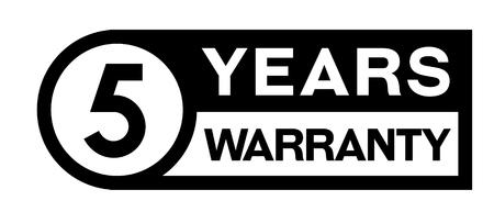 5 year warranty stamp on white