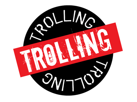 trolling stamp on white background. Sign, label sticker