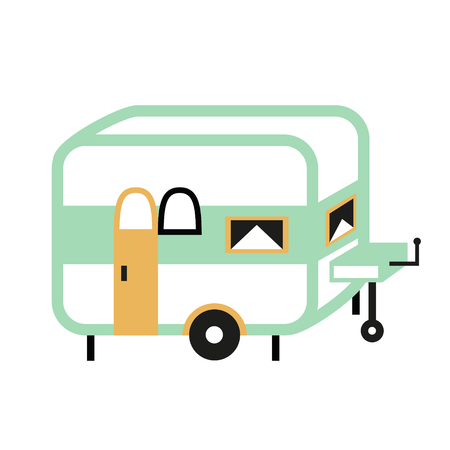 camping trailer flat illustration. Camping and forest hike series.