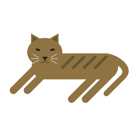 domestic cat lying flat illustration. Home furniture and decoration series.