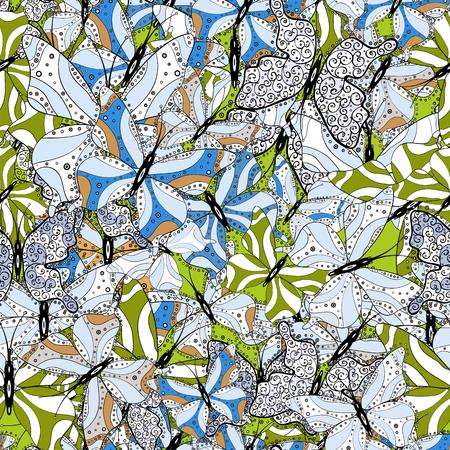 Mode-Stoff-Design. Vektor. Bilder in den Farben Weiß, Grau und Schwarz. Schönes nahtloses Muster von netten Schmetterlingen. Handgezeichnete Abbildung.
