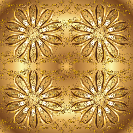 Symbol of winter, Merry Christmas holiday, Happy New Year 2019. Golden snowflake simple seamless pattern. Vector golden pattern on brown and beige colors. Abstract wallpaper, wrapping decoration.