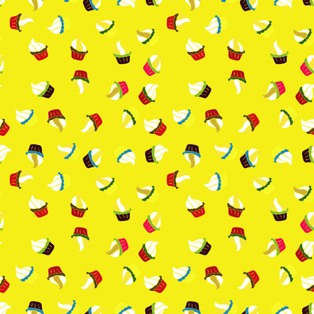 Pattern on red, white and yellow. Seamless of Variety Muffins, Poppy seed, Chocolate Chip, Pumpkin Cream, Chocolate and Delicious Breakfast or Dessert Muffins. Vector illustration.